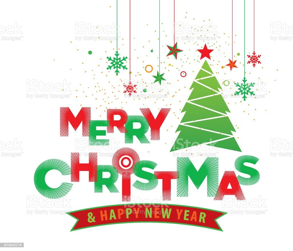 Merry Christmas And Happy New Year Typography And Christmas Tree ...