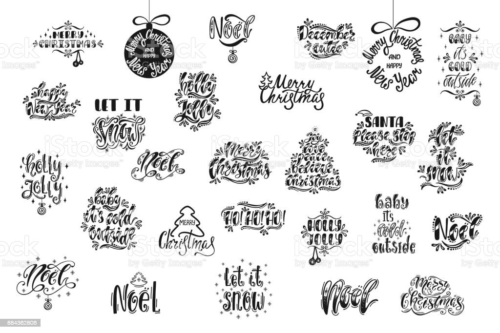 Merry Christmas And Happy New Year Typography Design Hand Drawn ...