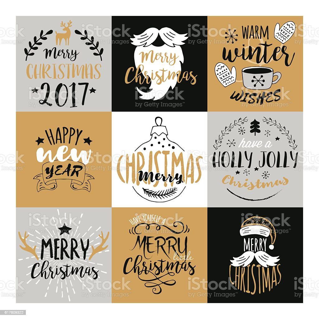 Merry Christmas And Happy New Year Typography Design Stock Vector ...
