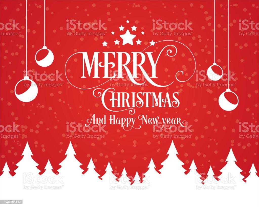 С Рождеством Христовым и с Новым годом Типография иллюстрация. Xmas Фон со звездами света дерева - Векторная графика Ёлочные игрушки роялти-фри