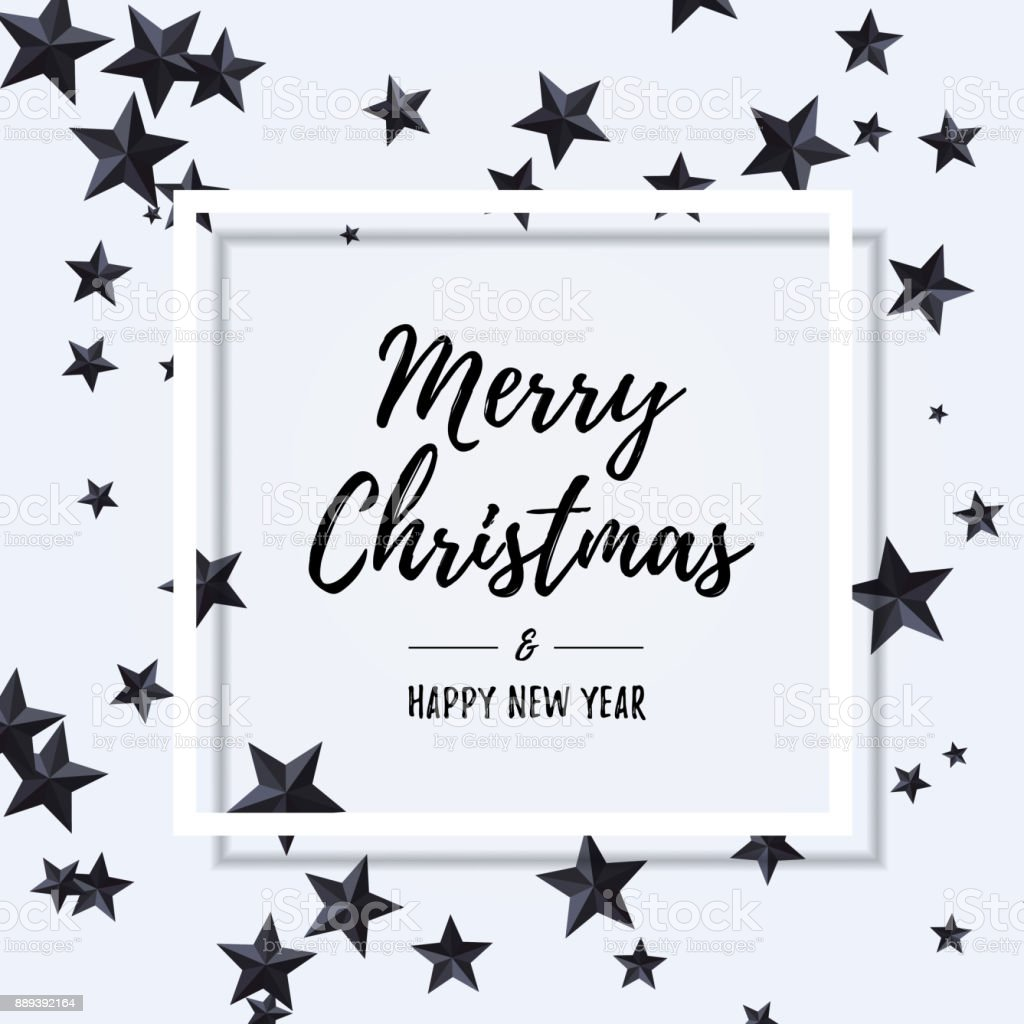 Merry Christmas And Happy New Year Typography Inside White Frame Over Flat Lay With Black Stars