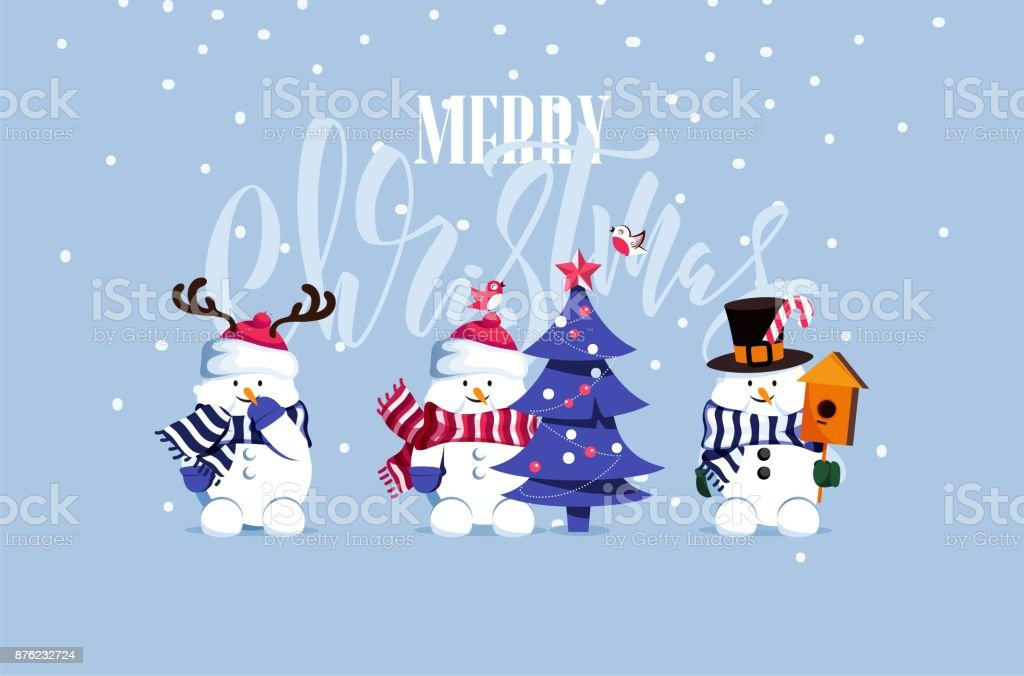 Merry Christmas And Happy New Year Vector Background With Cute Snowmen Typographic Design Royalty