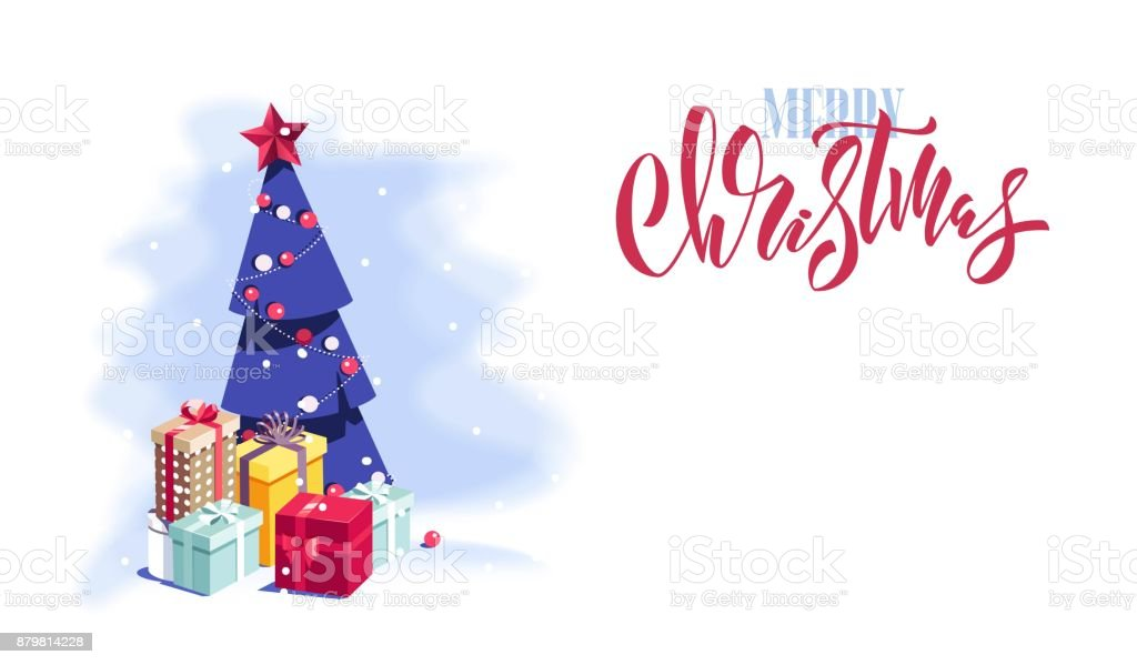 Merry Christmas And Happy New Year Vector Background With