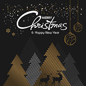 Merry christmas and Happy New Year 2019/2020 vector design, pine tree, pine forest