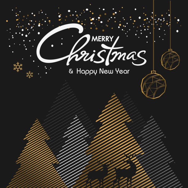 Merry christmas and Happy New Year vector design Merry christmas and Happy New Year 2019/2020 vector design, pine tree, pine forest funny christmas stock illustrations