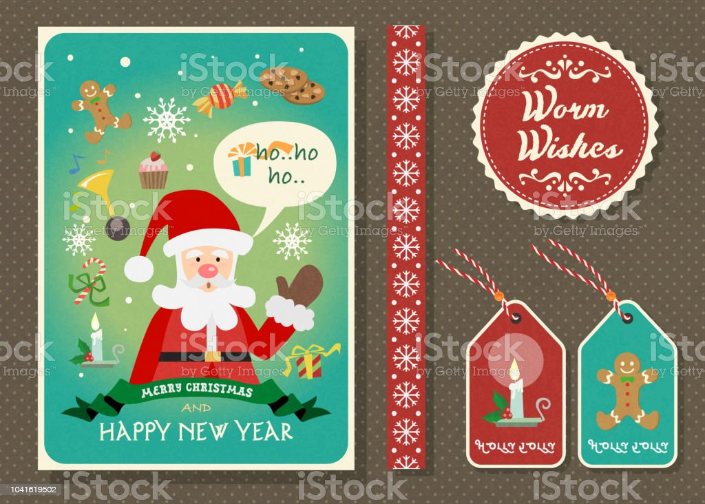 merry christmas and happy new year vector greeting card set royalty free merry christmas