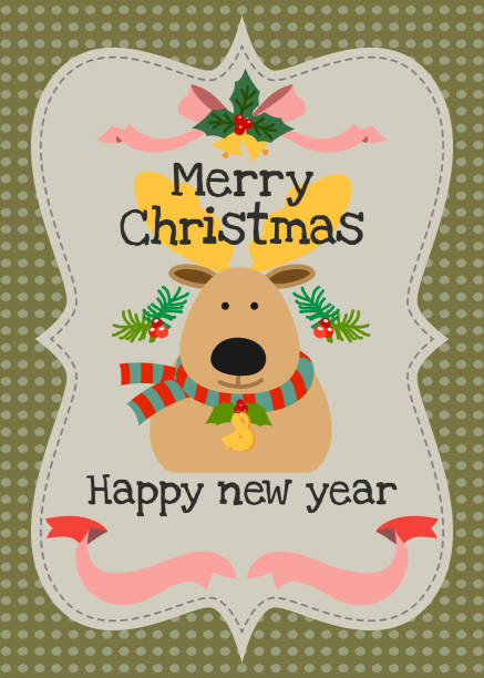 merry christmas and happy new year vector greeting card vector art illustration