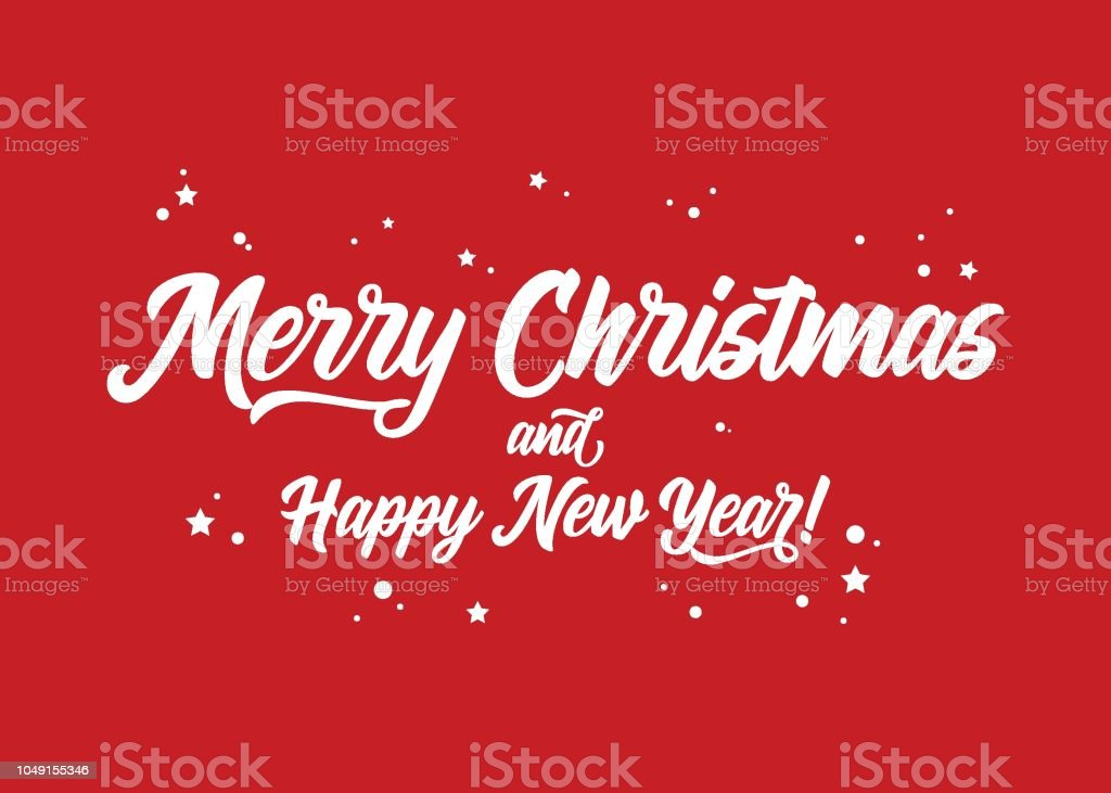 merry christmas and happy new year vector holiday template festive red background calligraphy