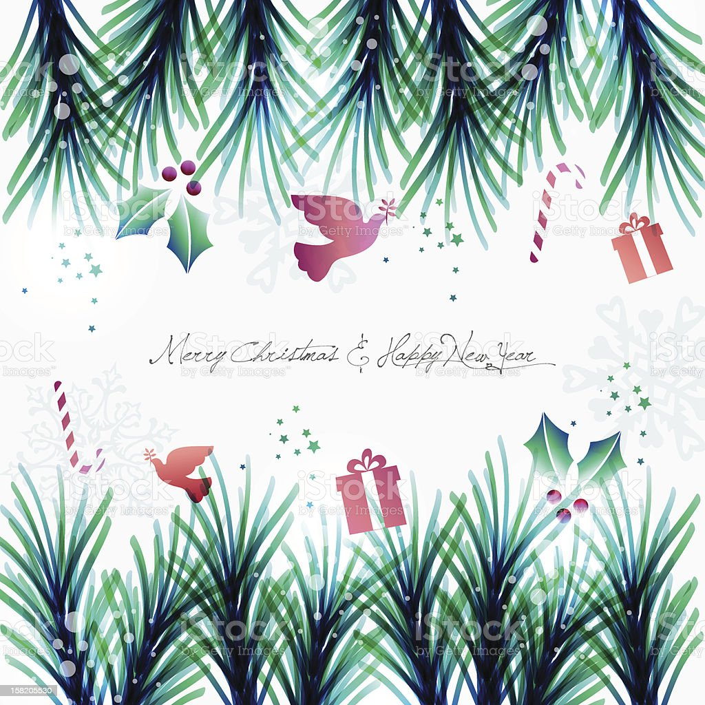 Merry Christmas and happy new year royalty-free merry christmas and happy new year stock vector art & more images of branch - plant part