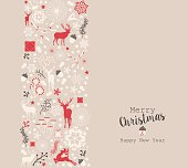 Vector elements with deer, nature, and holiday elements. EPS10 vector.