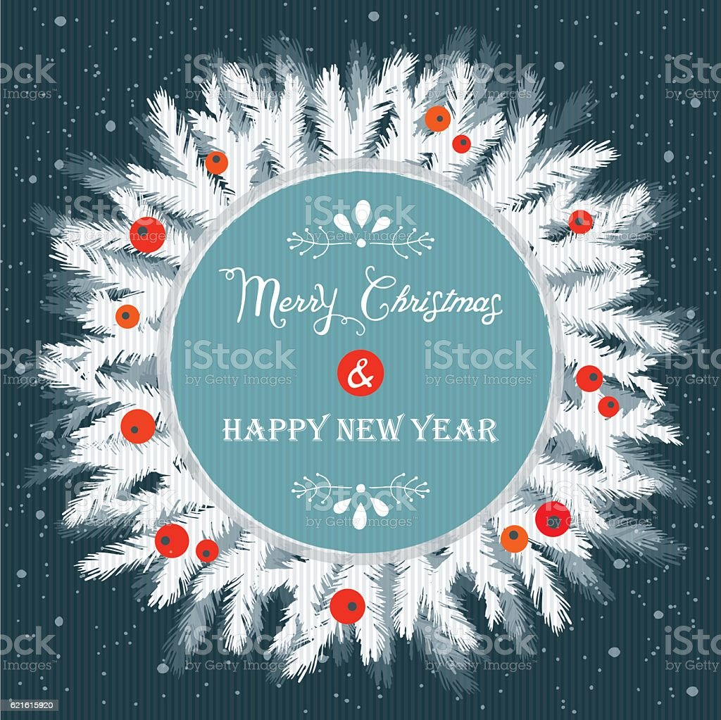 Merry Christmas And Happy New Year vector art illustration