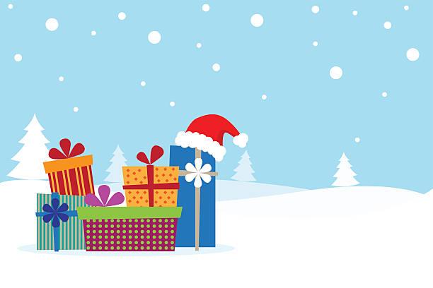 bildbanksillustrationer, clip art samt tecknat material och ikoner med merry christmas and happy new year - christmas gift family