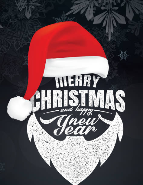 Merry Christmas And Happy New Year Merry Christmas And Happy New Year text with hat and beard santa hat stock illustrations