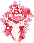 Merry Christmas And Happy New Year with Grunge Deer