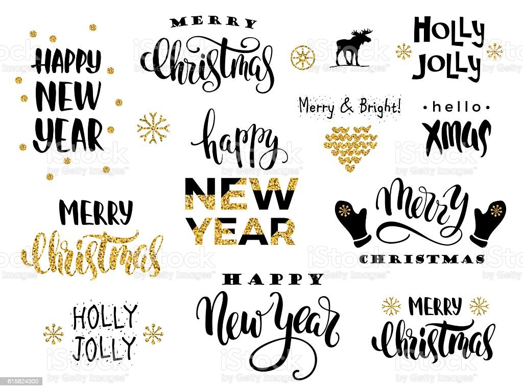 Christmas Calligraphy.Merry Christmas And Happy New Year Vector Lettering Calligraphy Stock Illustration Download Image Now