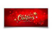 Merry christmas and happy new year vector snowflake and red bokeh background, illustration