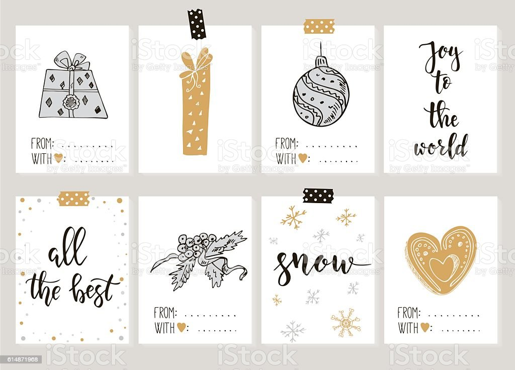 Merry Christmas And Happy New Year Vintage Gift Tags Cards Royalty Free  Merry Christmas And