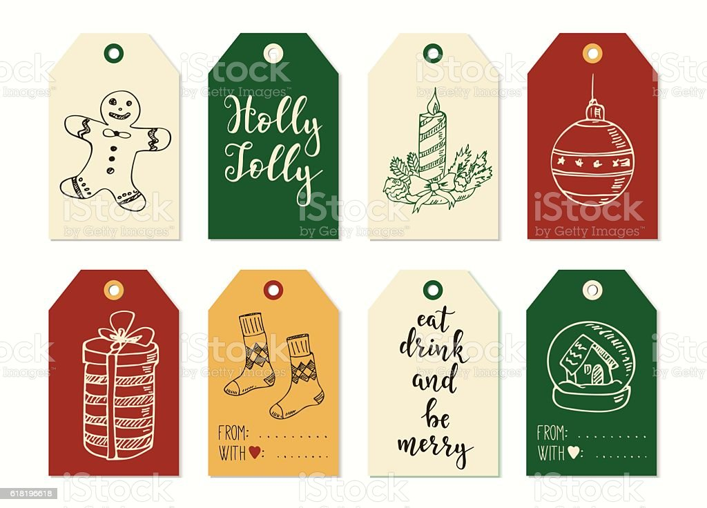 Merry Christmas And Happy New Year Vintage Gift Tags Cards Stock ...