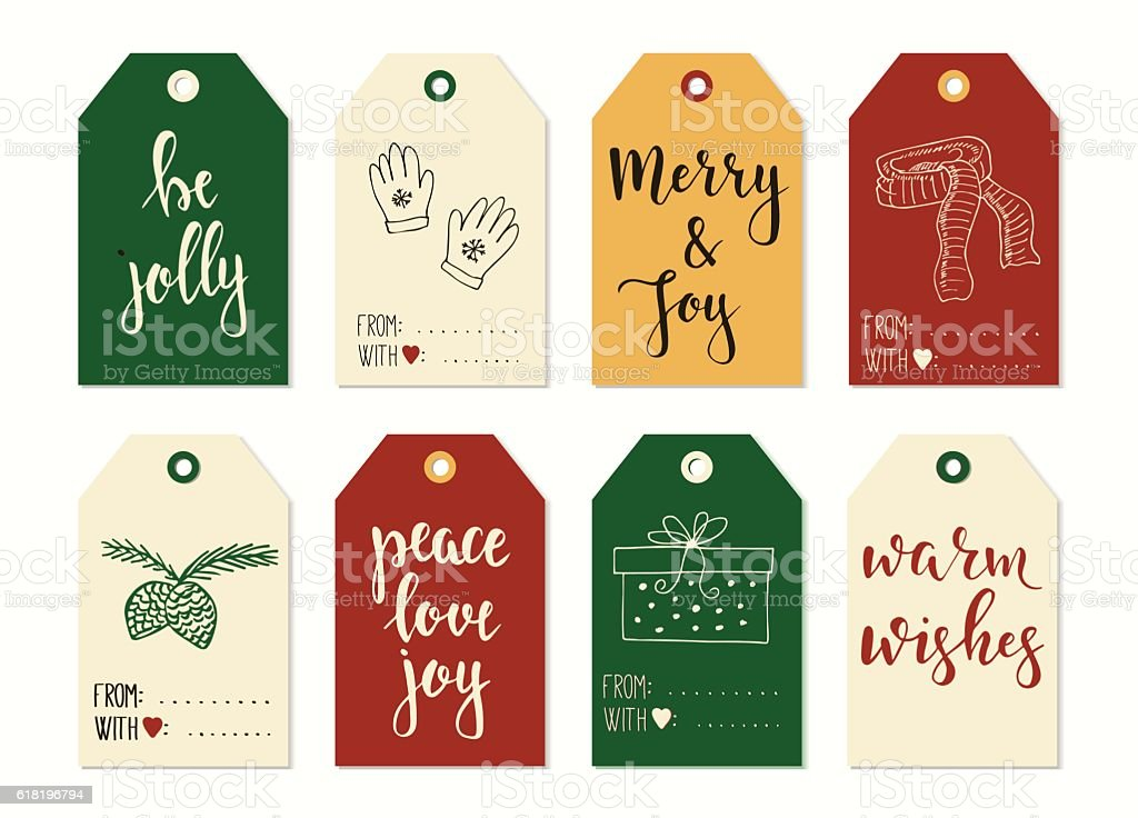 merry christmas and happy new year vintage gift tags cards royalty free stock vector art