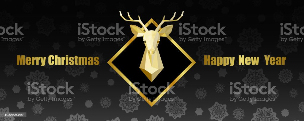 merry christmas and happy new year web banner with polygonal deer head royalty free merry