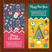Merry christmas and happy new year winter banners