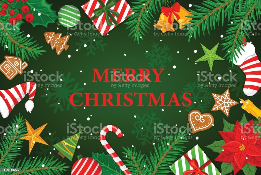 Christmas In Australia Background.Merry Christmas And Happy New Year Winter Greeting Card