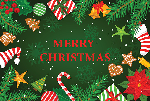 Merry Christmas and Happy New Year  winter  greeting card background with xmas decoration