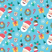 Merry christmas and happy new year winter seamless pattern.