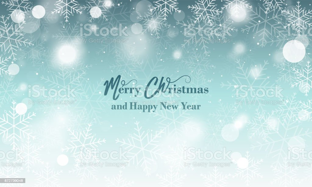 merry christmas and happy new year wishes blurred vector background with snowflakes and glowing elements