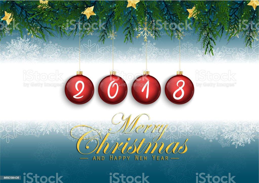 2018 Prettige Kerstdagen En Gelukkig Nieuwjaar Met Spar Takken En Rode Kerstballen Stockvectorkunst En Meer Beelden Van 2018 Istock