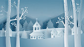 Merry Christmas and happy new year with Landscape of village in winter field in paper cut style. Vector illustration design for backdrop,wallpaper, poster, banner.