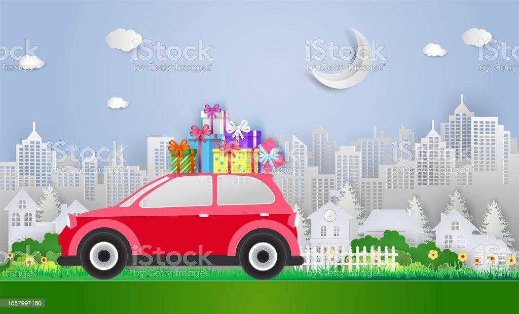 Frohe Weihnachten Und Gluckliches Neues Jahr Mit Roten Auto Und