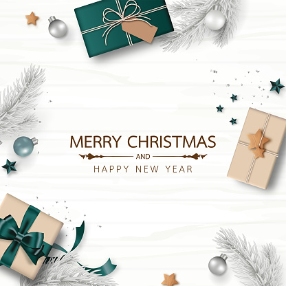 Merry Christmas and Happy New Year. Xmas background decorated with gifts box, pine branch, Christmas balls, confetti, and star isolated on white wood background. Minimal style.  Vector illustration.