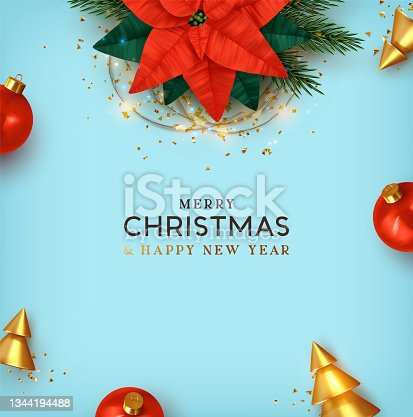istock Merry Christmas and Happy New Year. Xmas Background design realistic beautiful Poinsettia flower - red Christmas star. festive decorative objects. Blue poster, holiday banner, flyer, stylish brochure. 1344194488