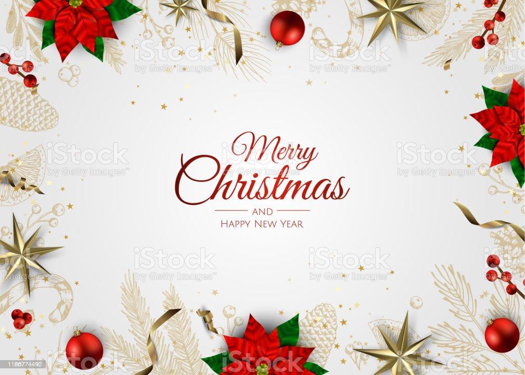 Frohe Weihnachten und ein gutes neues Jahr. Xmas Hintergrund mit Geschenk-Box, Schneeflocken und Bälle Design. - Lizenzfrei Abstrakt Vektorgrafik