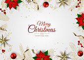istock Merry Christmas and Happy New Year. Xmas background with gift box, Snowflakes and balls design. 1186774492