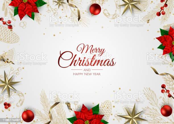 Frohe Weihnachten Und Ein Gutes Neues Jahr Xmas Hintergrund Mit Geschenkbox Schneeflocken Und Bälle Design Stock Vektor Art und mehr Bilder von Abstrakt