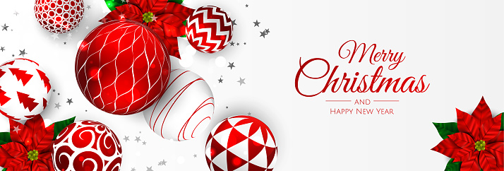 Merry Christmas and Happy New Year. Xmas background with poinsettia, Snowflakes, star and balls design.