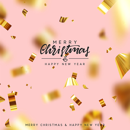Merry Christmas and Happy New Year. Xmas background with realistic falling glitter gold confetti. Holiday greeting cards. Vector illustration