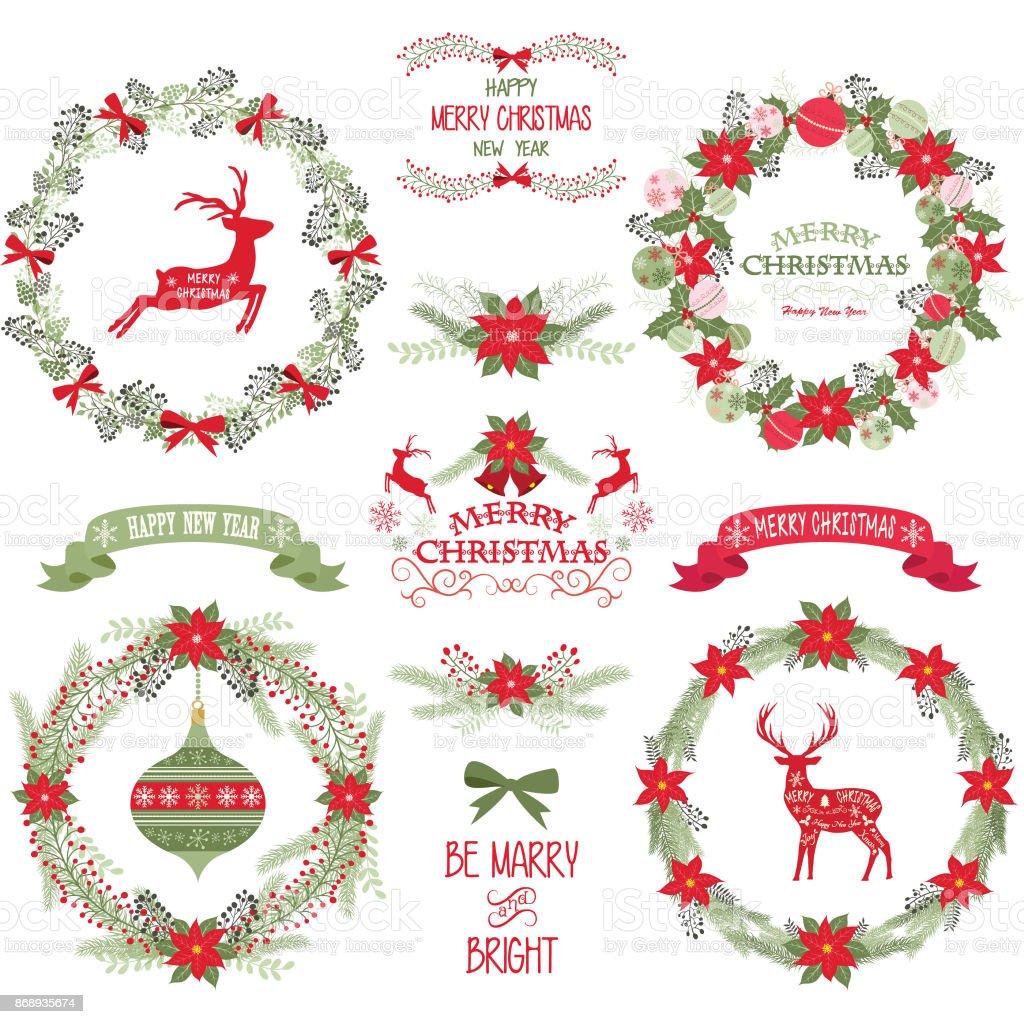 Merry Christmas And Happy New YearChristmas WreathBannerRustic Reindeer