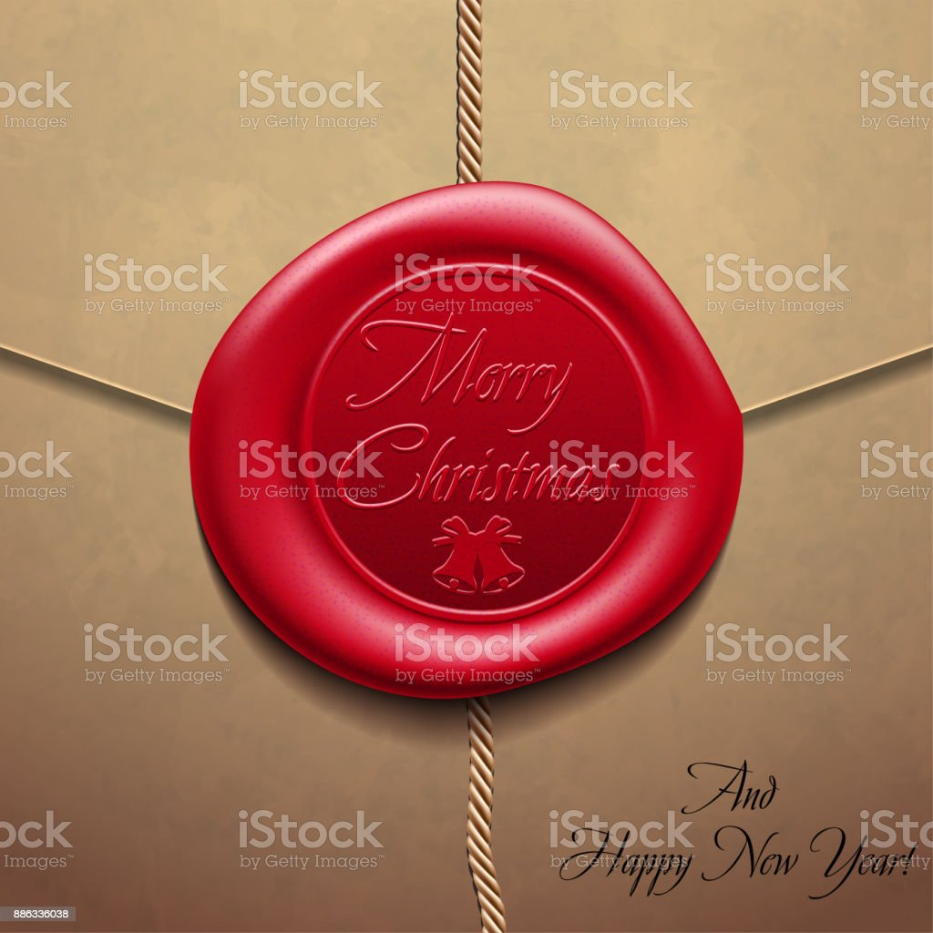 Merry Christmas and Happy New YearEnvelope with wax seal. Sealing wax. Vector Illustration vector art illustration
