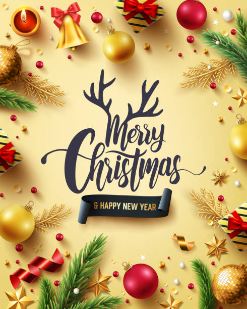 ilustrações de stock, clip art, desenhos animados e ícones de merry christmas and happy new years golden poster with golden gift box,ribbon and christmas decoration elements for retail,shopping or christmas promotion in golden style.vector illustration eps 10 - christmas elements