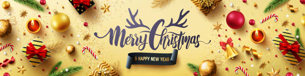 Merry Christmas and Happy New Years Golden Poster with golden gift box,ribbon and christmas decoration elements for Retail,Shopping or Christmas Promotion in golden style.Vector illustration EPS 10 vector art illustration
