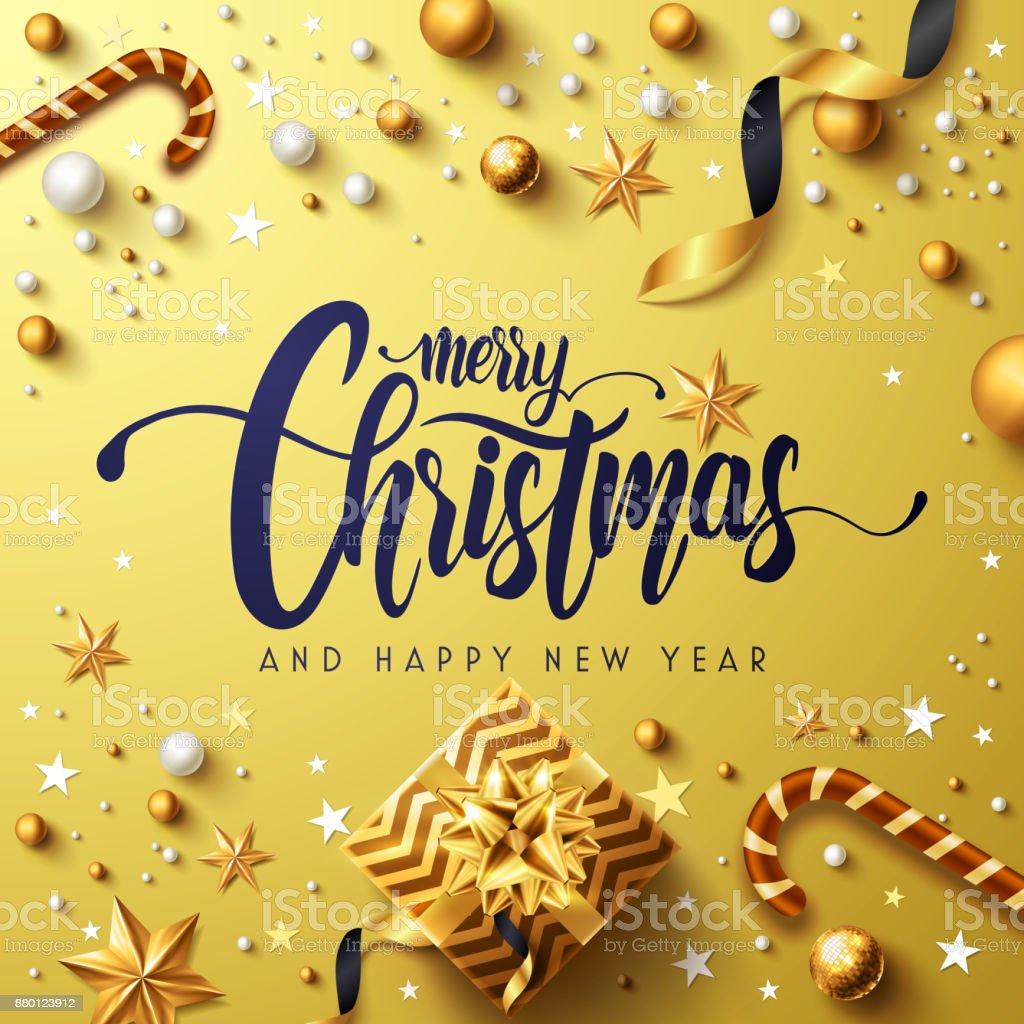 기쁜 성 탄과 행복 한 새로운 년 골든 포스터 황금 선물 상자, 리본 및 크리스마스 장식 요소. 벡터 일러스트 레이 션 EPS10 - 로열티 프리 12월 벡터 아트