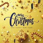 Merry Christmas and Happy New Years Golden Poster with golden gift box,ribbon and christmas decoration elements.Vector illustration EPS10