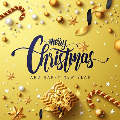 기쁜 성 탄과 행복 한 새로운 년 골든 포스터 황금 선물 상자 리본 및 크리스마스 장식 요소 벡터 일러스트 레이 션 Eps10 12월에 대한 스톡 벡터 아트 및 기타 이미지