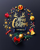 Merry Christmas and Happy New Years Poster with gift box,ribbon and christmas decoration elements for Retail,Shopping or Christmas Promotion in golden style.Vector illustration EPS10