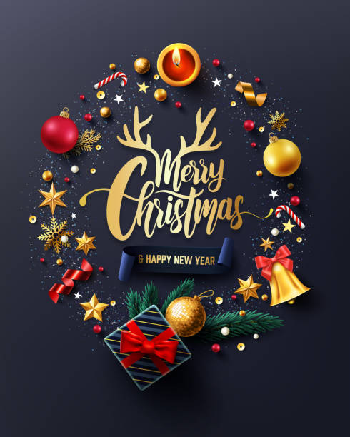 ilustrações de stock, clip art, desenhos animados e ícones de merry christmas and happy new years poster with gift box,ribbon and christmas decoration elements for retail,shopping or christmas promotion in golden style.vector illustration eps10 - christmas card