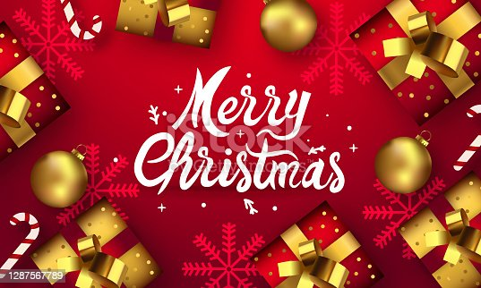 istock Merry Christmas and Happy New Years Red Poster with gift box and decoration elements 1287567789