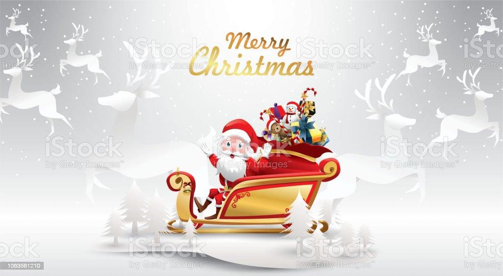 Frohe Weihnachten Und Happy New Yearsanta Claus Ist Rentierschlitten ...